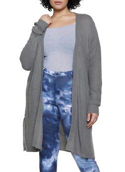 Plus Size Open Front Slit Side Knit Duster - 1920074052861