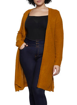 Plus Size Open Front Slit Side Knit Duster - 1920074052861