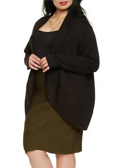 Plus Size Soft Knit Cardigan - 1920074541824
