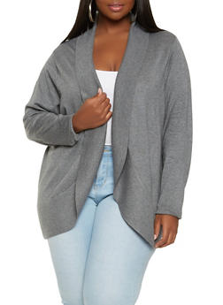 Plus Size Soft Knit Cardigan - 1920074541824