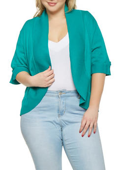 Plus Size Solid Shrug Cardigan - 1920074544694