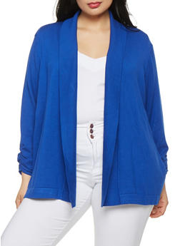 Plus Size Ruched Sleeve Cardigan - 1920074544702