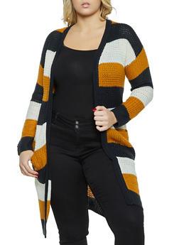 Plus Size Color Block Knit Duster - 1920075170045