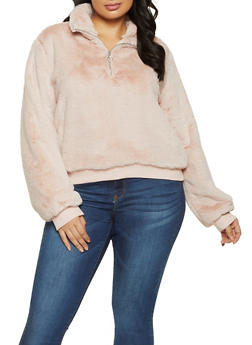 Plus Size Half Zip Faux Fur Sweatshirt - 1924038205026