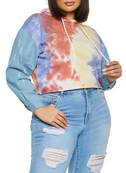 Plus Size Tie Dye Denim Sleeve Hooded Top - 1924056575189