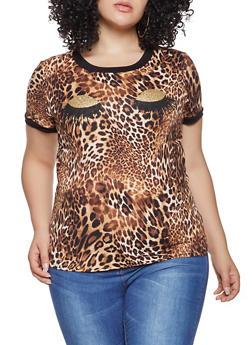 Plus Size Leopard Print Tee - 1924061350046