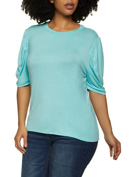 Plus Size Ruched Sleeve Tee - 1924061356631