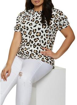 Plus Size Leopard Soft Knit Top - 1924061356663