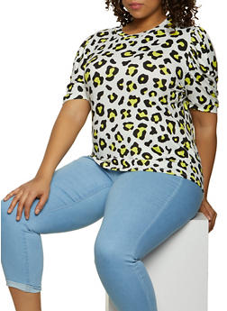 Plus Size Leopard Soft Knit Top - 1924061356663