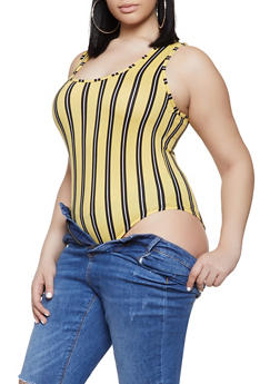 Plus Size Striped Soft Knit Thong Bodysuit - 1924061357115