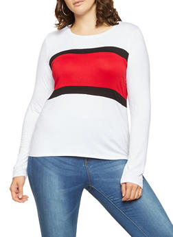 Plus Size Color Block Long Sleeve Tee - 1924061357751