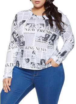 Plus Size Newspaper Print Top - 1924061358009