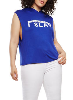 Plus Size Hooded Graphic Muscle Tank - 1924061358149