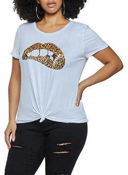 Plus Size Leopard Lip Sequin Tee - 1924061359879