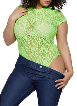 Plus Size Neon Lace Bodysuit - 1924063400771