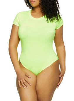 Plus Size Neon Soft Knit Bodysuit - 1924063404690