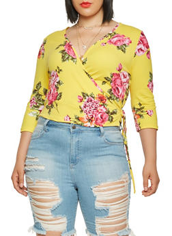 Plus Size Floral Soft Knit Wrap Top - 1924069390032