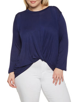 Plus Size Twist Front Top - 1924069390141