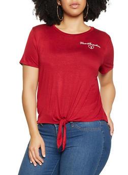Plus Size Heartbreaker Tie Front Tee - 1924069390319