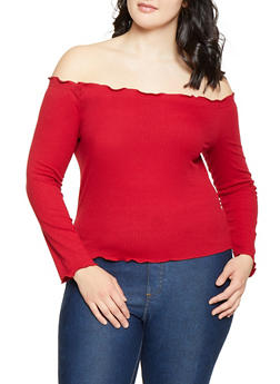 Plus Size Lettuce Edge Ribbed Off the Shoulder Top - 1924069390388