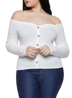 22ac10cb1a3ed Plus Size Off the Shoulder Faux Button Top - 1924069390474