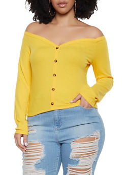 fa2bfcbe8f Plus Size Off the Shoulder Faux Button Top - 1924069390474