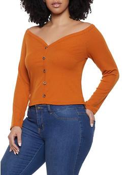 Plus Size Off the Shoulder Faux Button Top - 1924069390474