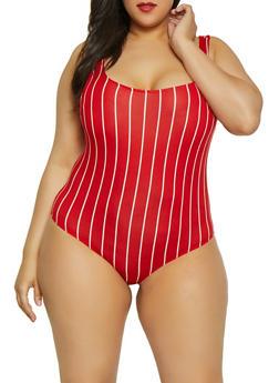 Plus Size Striped Thong Bodysuit | 1924069390731 - 1924069390731
