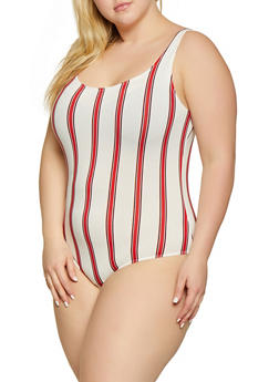 Plus Size Soft Knit Striped Thong Bodysuit - 1924069390733