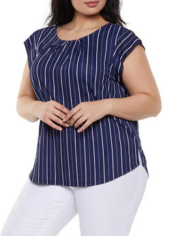 Plus Size Striped Knit Top - 1924069390818