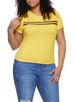 Plus Size Striped Tape Trim Solid Tee - 1924069391032