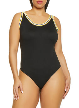 Plus Size Tape Trim Bodysuit - 1924069391072