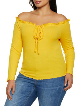 Plus Size Off the Shoulder Lettuce Trim Top - 1924069391095