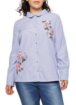 Plus Size Flower Embroidered Button Front Top - 1924069395145