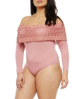 Plus Size Crochet Trim Off the Shoulder Bodysuit - 1924069395156