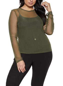 Plus Size Mesh Long Sleeve Top - 1924069395778
