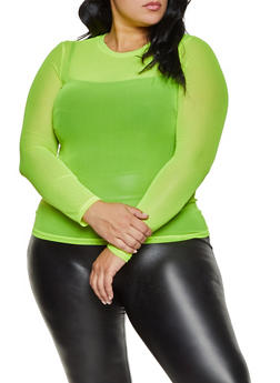 Plus Size Mesh Long Sleeve Top - NEON LIME - 1924069395778