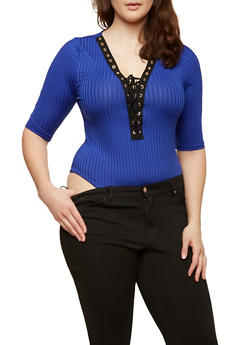 Plus Size Lace Up Rib Knit Bodysuit - 1924069397877