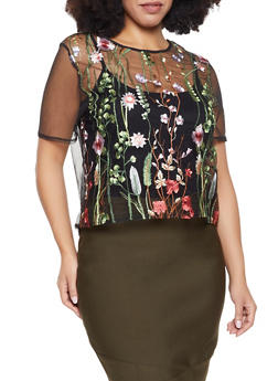 Plus Size Floral Embroidered Mesh Top - 1924069398618
