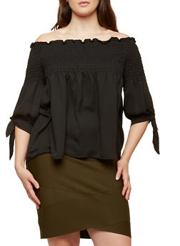 Plus Size Smocked Off the Shoulder Top - 1924069399011