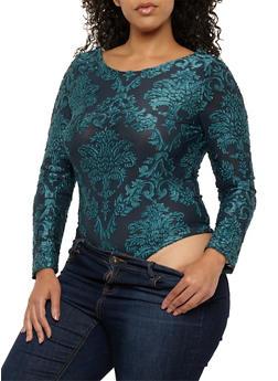 Plus Size Velvet Burnout Open Back Bodysuit - 1924069399307