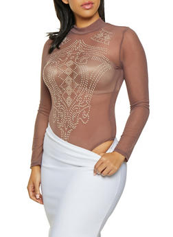 Plus Size Studded Mesh Bodysuit - 1924069399461