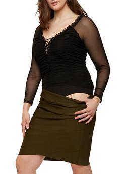 Plus Size Ruched Mesh Thong Bodysuit - 1924069399548