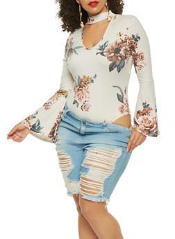Plus Size Soft Knit Floral Print Bodysuit - 1924069399550