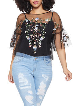 Plus Size Floral Embroidered Tulle Top - 1924069399566