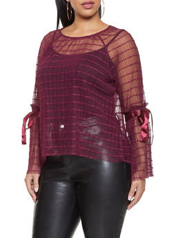 Plus Size Pleated Mesh Top - 1924069399618
