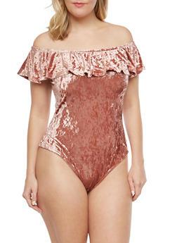 Plus Size Crushed Velvet Off the Shoulder Bodysuit - 1924069399777
