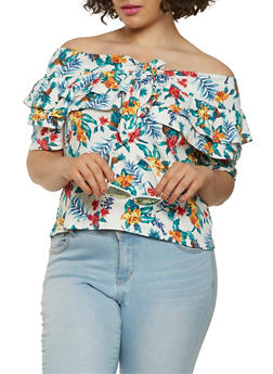 Plus Size Printed Off the Shoulder Top - 1924069399972