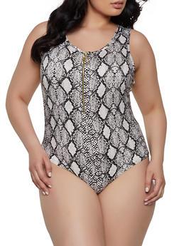 Plus Size Snake Print Tank Bodysuit - 1924072240545