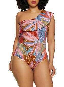 Plus Size Tropical One Shoulder Bodysuit - 1924072249030